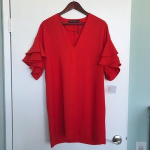 NWT Zara red chiffon shift dress, ruffle sleeves